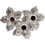 Napier flowers pin purple rivoli rhinestone
