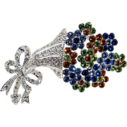 Napier rhinestone bouquet of flowers pin with bow