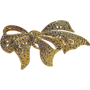 Napier rhinestone ribbon bow pin