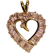10K Gold heart pendant simulated pink stones