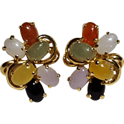 14K Gold multi color jade cabochon earrings
