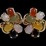 14K Gold multi color jade cabochon earrings