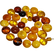 Natural Baltic amber disk carved bead necklace egg yolk butterscotch cognac