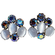 Vendome earrings ab rhinestone moonstone glass cabochon tension screw clips