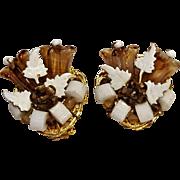 Hattie Carnegie glass bell flower clip earrings chocolate brown givre glass