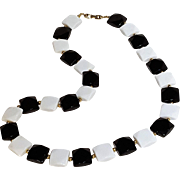 Napier black white faceted square lucite bead necklace Spectator