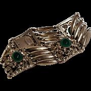 Peruzzi Florence 800 silver green stone cabochon bracelet