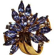 10K Gold tanzanite cocktail cluster ring KL JCI