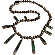Taxco sterling silver inlay drop and bead reversible necklace