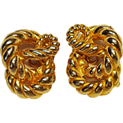 Mimi DiN rope knot clip earrings