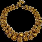 Nettie Rosenstein glass bead necklace pink opalescent gold foil