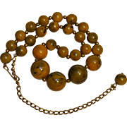 Bakelite bead necklace marbled inkspot
