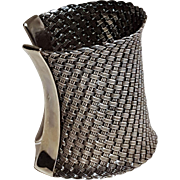 "Suarti sterling silver tribal cuff 3"" wide woven"