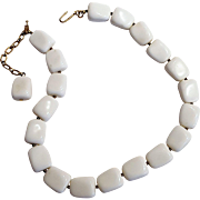 Trifari white lucite bead necklace