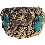 Gene Natan Navajo sterling silver turquoise cuff bracelet howling wolf