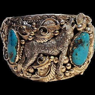 Gene Natan Navajo sterling silver turquoise cuff bracelet howling wolf