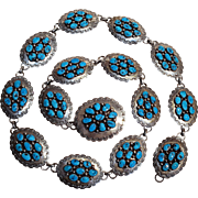 Tommy Moore Navajo sterling silver turquoise concho belt