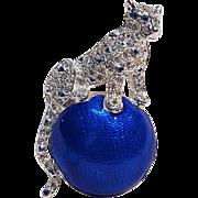 Napier rhinestone panther pin blue enamel sphere