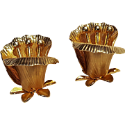 Coro gold tone lily flower clip earrings