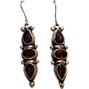 Sterling silver faceted garnet stone earrings