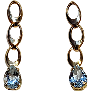 14K Gold aquamarine drop earrings