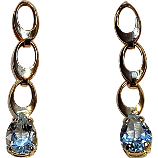 14K Gold aquamarine drop earrings