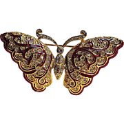 Napier butterfly pin rhinestone red enamel
