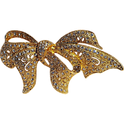 Napier rhinestone bow ribbon pin