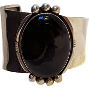 Andy Marion Navajo sterling silver onyx cuff bracelet