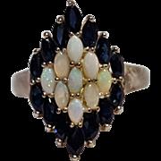 Sterling silver sapphire opal ring Art Deco design CNA