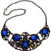 Blue glass stone cast metal necklace circa 1930-40's