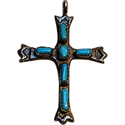 Zuni turquoise silver cross pendant G&L Leekity