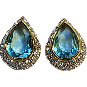 Nina Ricci aqua blue  rhinestone clip earrings