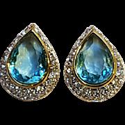 Nina Ricci aqua blue  rhinestone clip earrings