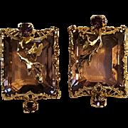 Kafin purple rhinestone earrings applied metal leaves filigree plaques