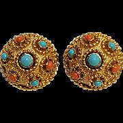Trifari simulated coral turquoise clip earrings
