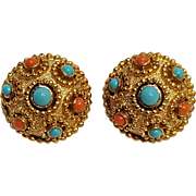 Trifari simulated coral turquoise clip earrings