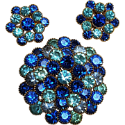Blue rhinestone pin clip earrings set