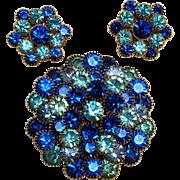 Blue rhinestone pin clip earrings set