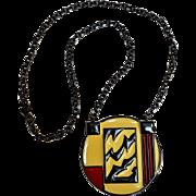 Monet Modernist enamel pendant necklace