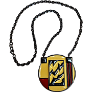 Monet Modernist enamel pendant necklace