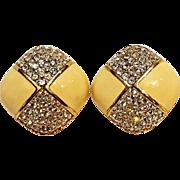 Swarovski clip earrings cream enamel rhinestone