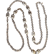 Trifari sautoir chain necklace Asian motif