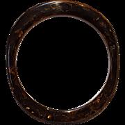 Bakelite bangle oblong dark coffee brown marbles