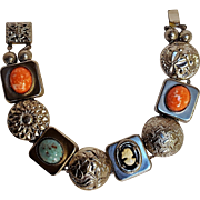 Slide bracelet set with simulated stone cabochons  plastic cameo,