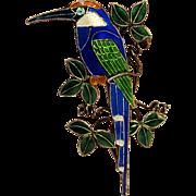 Sterling silver enamel bird pin 925S