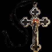 Relic reliquary pectoral cross crucifix theca 7 relics