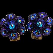 Heliotrope margarita crystal clip earrings purple blue