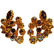 Austria topaz rhinestone clip earrings