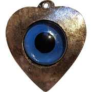 Silver heart bubble glass eye charm